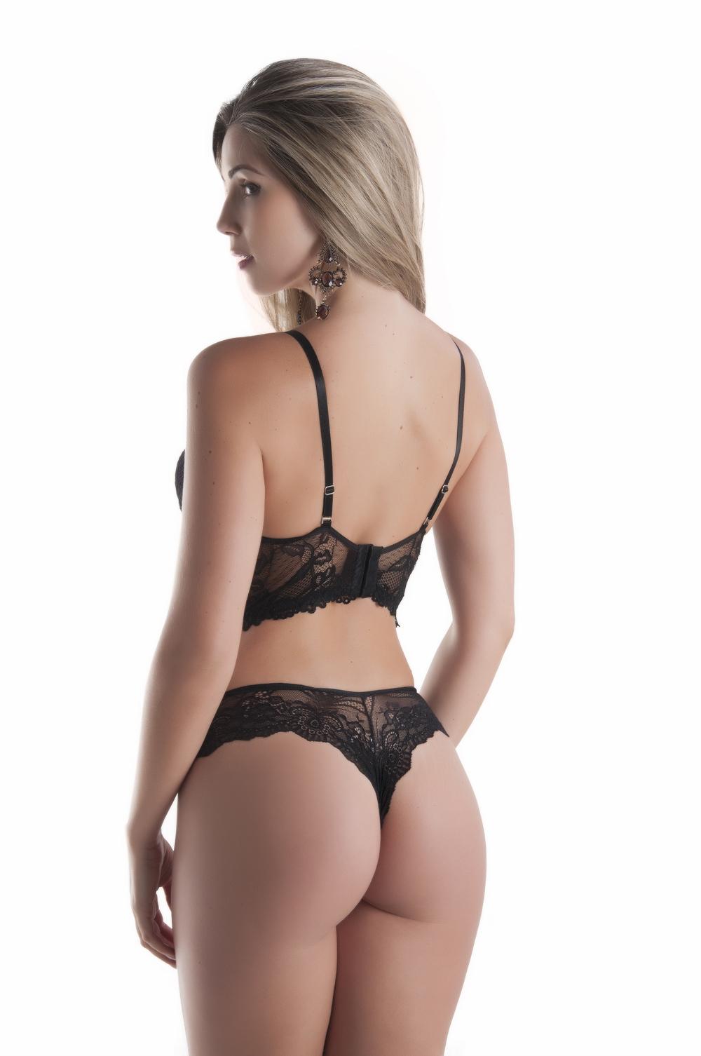 Conjunto de lingerie cropped strappy bra em renda